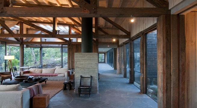 Villa de madera y cristal en chile - Fotos de casas de madera y piedra ...