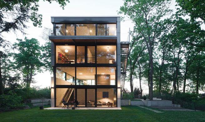 Haus 0 vivienda con fachada de cristal - Fachada de cristal ...