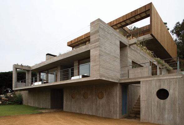 Fachada cemento casa el pangue - Casas de madera y hormigon ...