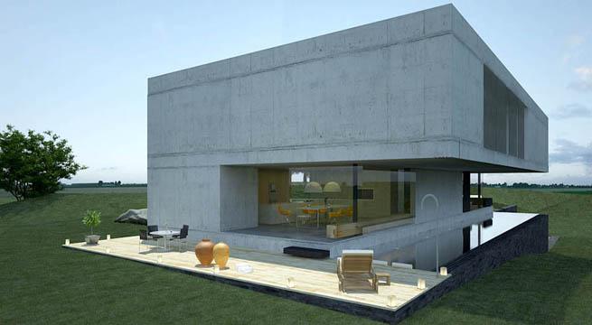 Casas De Cemento Of Casa De Cemento Con Piscina Longitudinal