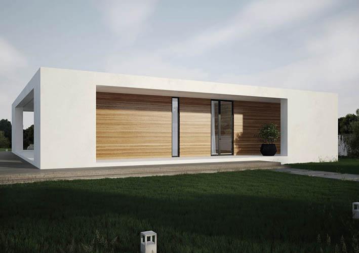 Casa en una sola planta organizada en torno a un patio for Exterior edificios