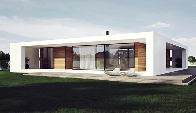 Casa en una sola planta organizada en torno a un patio for Minimalismo moderno