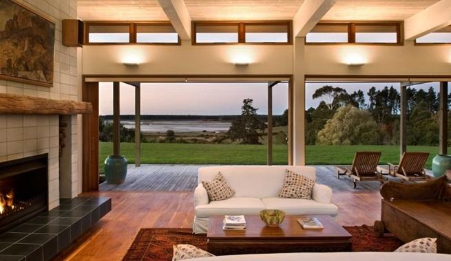 Casa triple de madera con vistas a un estuario - Interior casas de madera ...