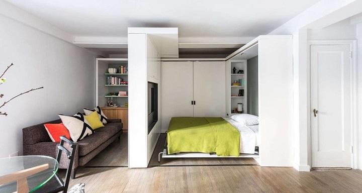 Micro apartamento Nueva York pared movil